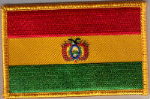 Bolivia Embroidered Flag Patch, style 08.